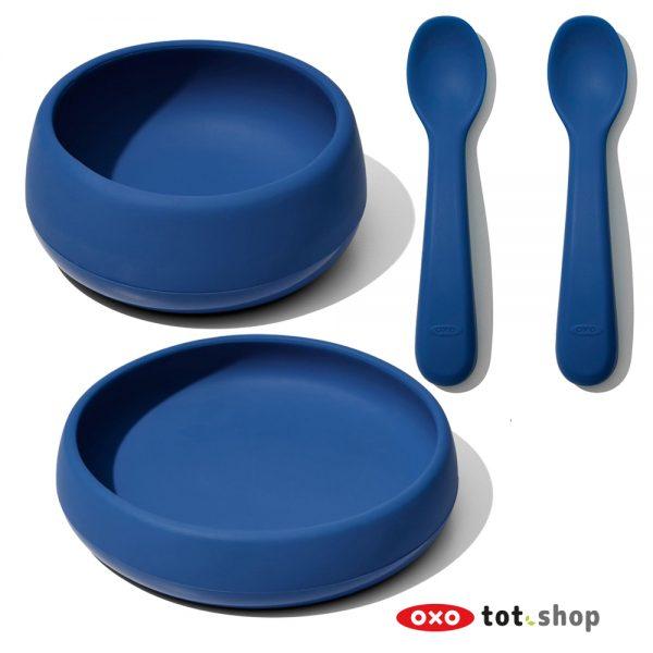 OXO Siliconen Kinderservies Blauw
